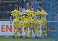 Fleetwood Town's Ashley Hunter celebrates scoring the opening goal with team-mates<br /> <br /> Photographer Kevin Barnes/CameraSport<br /> <br /> The EFL Sky Bet League One - Bristol Rovers v Fleetwood Town - Saturday 22nd December 2018 - Memorial Stadium - Bristol<br /> <br /> World Copyright © 2018 CameraSport. All rights reserved. 43 Linden Ave. Countesthorpe. Leicester. England. LE8 5PG - Tel: +44 (0) 116 277 4147 - admin@camerasport.com - www.camerasport.com