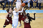 01 February 2015: North Carolina's Jessica Washington (24) shoots over Boston College's Karima Gabriel (25), Ashley Kelsick (0), and Kelly Hughes (23). The University of North Carolina Tar Heels hosted the Boston College Eagles at Carmichael Arena in Chapel Hill, North Carolina in a 2014-15 NCAA Division I Women's Basketball game. UNC won the game 72-60.