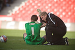 Nottingham Forest goalkeeper Lee Camp receiving treatment on the pitch during the second-half at the City Ground, Nottingham as Nottingham Forest take on visitors Ipswich Town in an Npower Championship match. Forest won the match by two goals to nil in front of 22,935 spectators.