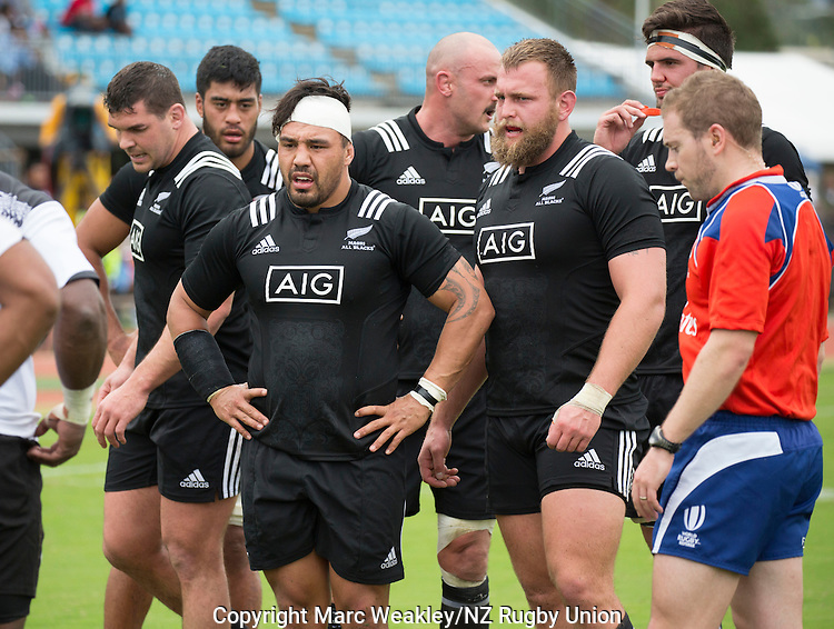 Ben May (L), Akira Ioane, Ash Dixon, Hayden Triggs, Joe Moody. Maori All Blacks vs. Fiji. Suva. MAB's won 27-26. July 11, 2015. Photo: Marc Weakley