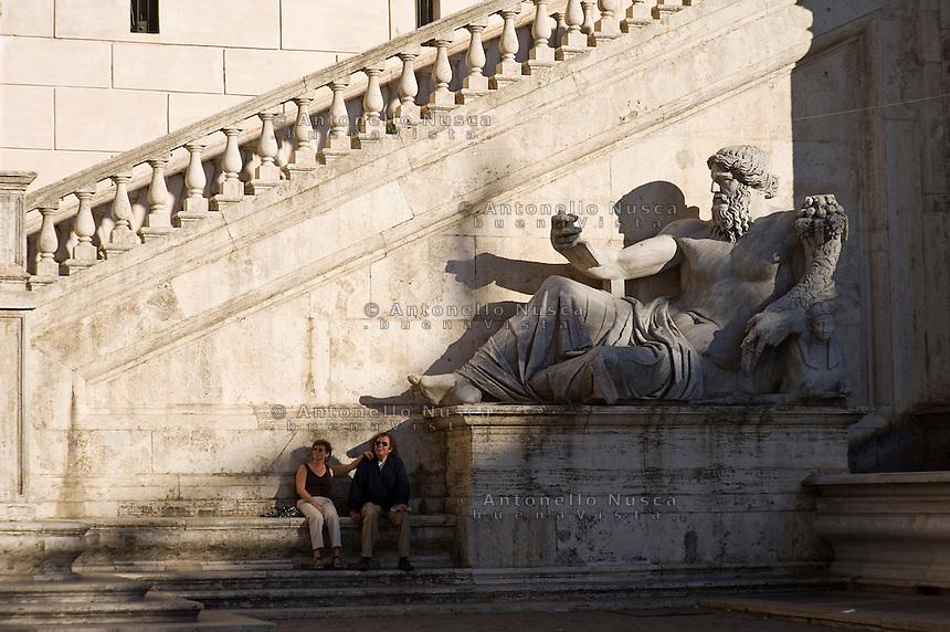 Tourists iat the Capitol hill. Turisti in Campidoglio
