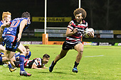 Orbyn Leger heads for the tryline. Mitre 10 Cup game between Counties Manukau Steelers and Tasman Mako's, played at ECOLight Stadium Pukekohe on Saturday October 14th 2017. Counties Manukau won the game 52 - 30 after trailing 22 - 19 at halftime. <br /> Photo by Richard Spranger.