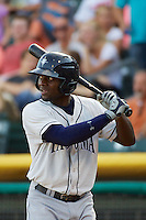 Xavier Avery (7) of the Tacoma Rainiers at bat against the Salt Lake Bees in Pacific Coast League action at Smith's Ballpark on July 8, 2014 in Salt Lake City, Utah.  (Stephen Smith/Four Seam Images)