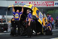 Jun. 3, 2012; Englishtown, NJ, USA: NHRA crew members for funny car driver Ron Capps during the Supernationals at Raceway Park. Mandatory Credit: Mark J. Rebilas-