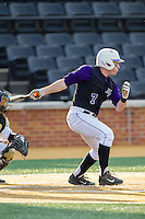 Dane McDermott (7) of the High Point Panthers follows through on his swing against the Wake Forest Demon Deacons at Wake Forest Baseball Park on April 2, 2014 in Winston-Salem, North Carolina.  The Demon Deacons defeated the Panthers 10-6.  (Brian Westerholt/Four Seam Images)