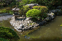 Taishakuten Suikei-en Garden is to be viewed from a covered bridge that encircles the garden.  The garden itself is composed of a long hedge of azaleas, a pond with pines branches shaped to resemble clouds.  Walking along the covered walkway the view across the pond toward the guest house and teahouse provides the best view of the garden.