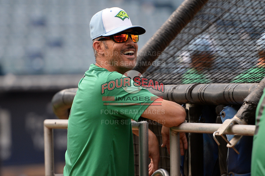 Daytona Tortugas manager Eli Marrero (1) during practice before a game against the Tampa Yankees on April 24, 2015 at George M. Steinbrenner Field in Tampa, Florida.  Tampa defeated Daytona 12-7.  (Mike Janes/Four Seam Images)
