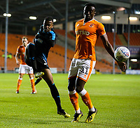 /West Bromwich Albion U21's Rayhaan Tulloch clears under pressure from Blackpool's Joe Dodoo<br /> <br /> Photographer Alex Dodd/CameraSport<br /> <br /> The EFL Checkatrade Trophy Northern Group C - Blackpool v West Bromwich Albion U21 - Tuesday 9th October 2018 - Bloomfield Road - Blackpool<br />  <br /> World Copyright &copy; 2018 CameraSport. All rights reserved. 43 Linden Ave. Countesthorpe. Leicester. England. LE8 5PG - Tel: +44 (0) 116 277 4147 - admin@camerasport.com - www.camerasport.com