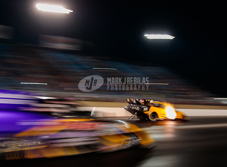 Jun 1, 2018; Joliet, IL, USA; NHRA funny car driver J.R. Todd during qualifying for the Route 66 Nationals at Route 66 Raceway. Mandatory Credit: Mark J. Rebilas-USA TODAY Sports