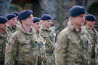 Wednesday 26 March 2014<br /> Pictured: Troops line up to be presented with medals<br /> Re: 236 Signal Squadron ( part of 14 Signal regiment who are based at Cawdor Barracks in Brawdy Parade through the streets of  St.Davids Pembrokeshire led by Haverfordwest Air Training Corps Band and are then Presented with medals