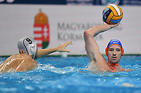 9 GERGELYFI Robert Roumania, 8 NISPELING Jesse Netherlands  <br /> Budapest 14/01/2020 Duna Arena <br /> ROMANIA (white caps) Vs. NETHERLANDS (blue caps) Men  <br /> XXXIV LEN European Water Polo Championships 2020<br /> Photo  © Andrea Staccioli / Deepbluemedia / Insidefoto