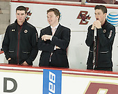 Matt Malloy (BC - Student Manager), Brian Hurley (BC - Student Manager), Stephen Shea (BC - Student Manager) - The Boston College Eagles defeated the visiting University of New Brunswick Varsity Reds 6-4 in an exhibition game on Saturday, October 4, 2014, at Kelley Rink in Conte Forum in Chestnut Hill, Massachusetts.