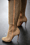 Street Style during Paris Fashion Week Spring Summer 2018 on Saturday 30th September 2017. Image shows a pair of mesh high heel boots, by Christian Louboutin.(Photo by JSTREETSTYLE/AFLO)(Photo by JSTREETSTYLE/AFLO)