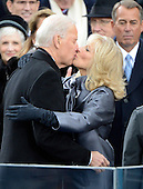 United States Vice President Joe Biden and his wife, Jill, share a kiss after he took the oath of office during the public swearing-in ceremony at the U.S. Capitol in Washington, D.C. on Monday, January 21, 2013..Credit: Ron Sachs / CNP.(RESTRICTION: NO New York or New Jersey Newspapers or newspapers within a 75 mile radius of New York City)