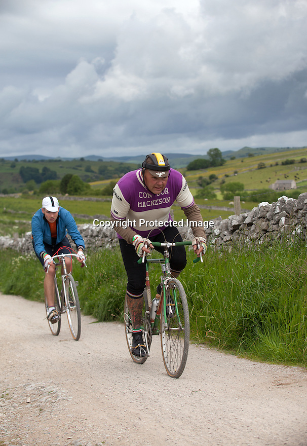2106/15<br /> <br /> Riders climb out of Hartington.<br /> <br /> Three Thousand cyclists riding vintage machines, all older than 1987, take to the hills of the Peak District in Derbyshire, as part of the Eroica Britannia Festival held in Bakewell this weekend.<br /> <br /> All Rights Reserved: F Stop Press Ltd. +44(0)1335 418629   www.fstoppress.com.