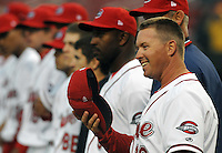 April 3, 2008: Manager Kevin Boles of the Greenville Drive, Class A affiliate of the Boston Red Sox, during the season opener against the Kannapolis Intimidators at Fluor Field at the West End in Greenville, S.C. Boles was named 2010 manager of the Salem Red Sox on Dec. 22, 2009. Photo by:  Tom Priddy/Four Seam Images