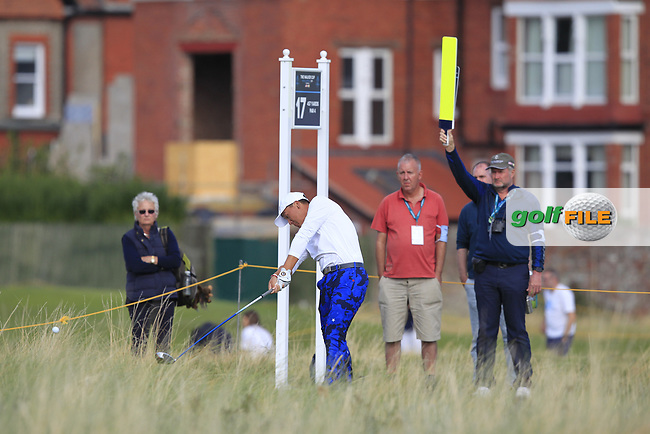 John Pak (USA) on the 17th tee during Day 2 Singles at the Walker Cup, Royal Liverpool Golf CLub, Hoylake, Cheshire, England. 08/09/2019.<br /> Picture Thos Caffrey / Golffile.ie<br /> <br /> All photo usage must carry mandatory copyright credit (© Golffile | Thos Caffrey)