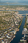 Aerial view of canal with Aurora Bridge and Bellevue in the background Seattle Washington State USA