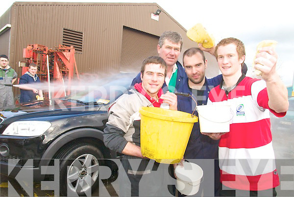 AT THE CAR WASH: IT Tralee students from The Young Engineers Agricultural Society held a charity car wash on 26th February in the South Campus. From l-r: Conor Smyth, Terry Harney, Ronan Shaw and Ross Whitefield.