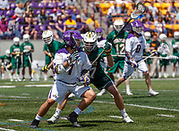 Tehoka Nanticoke (#1) works agains the Vermont defense as UAlbany Lacrosse defeats Vermont 14-4  in the American East Conference Championship game at Casey Stadium, May 5.
