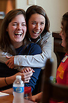 Two friends react during a weekend retreat.