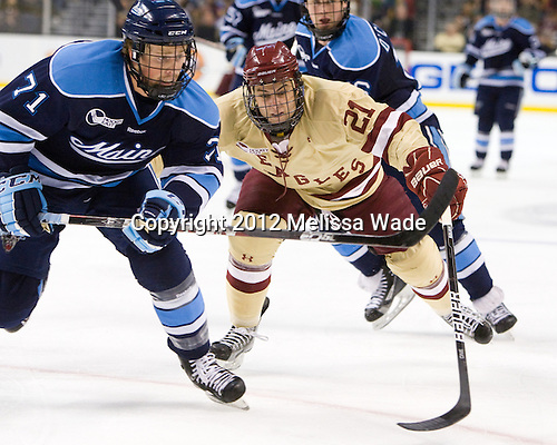 Nick Pryor (Maine - 71), Steven Whitney (BC - 21) - The Boston College Eagles defeated the University of Maine Black Bears 4-1 to win the 2012 Hockey East championship on Saturday, March 17, 2012, at TD Garden in Boston, Massachusetts.