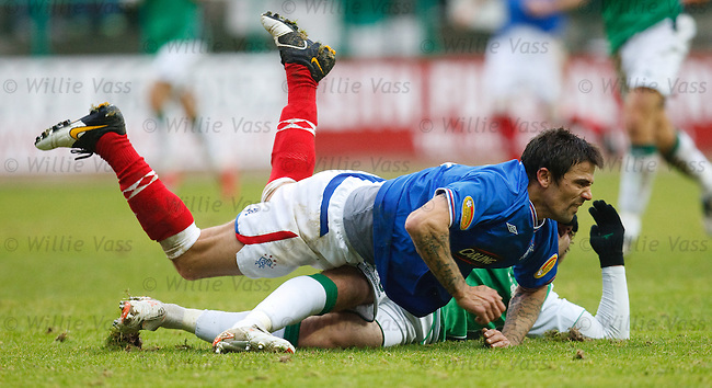 Nacho Novo taken out in a hairy tackle from Darren McCormack