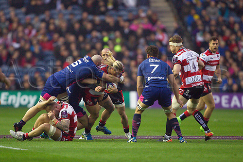 May 12th 2017, BT Murrayfield, Edinburgh, Scotland; European Rugby Challenge Cup Final; Gloucester versus Stade Francais;   Richard Hibbard makes a break for Gloucester