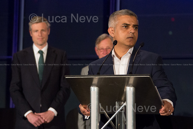(From L to R) Zac Goldsmith MP (Conservative Party), Lee Harris &amp; Sadiq Khan MP (Labour Party new Mayor of London). <br /> <br /> London, 06-07/05/2016. The morning after the London Mayoral Election, press began to congregate on the ninth floor of City Hall to report on the results and the official announcement of the new Mayor of London. At 15:21, the press team of City Hall announced the results by constituency. At just gone 17:30, the press videographers and photographers were escorted downstairs to the Chamber (second floor) to wait for the official final announcement. The press waited, however, almost five hours for this to happen. At 22:11, the Greater London Returning Officer, Jeff Jacobs, approached the stage and presented the new Greater London Assembly members. And, finally, at 12:18 on the 7th of May (just under nine hours after the first City Hall press announcement), Mr Jacobs officially announced the new Mayor of London, Sadiq Khan for the Labour Party. An official statement (that you can find at https://londonelects.org.uk/news-centre/news-listing/election-count-delay-explained and in the PDF attached to this story) was released on the 7th of May to explain the delay - which was previously described as being due to &quot;minor discrepancies in Mayoral figures&quot;. <br /> For more information, official statements, the results of the Mayoral Election and links for the London Assembly Members Election Results please find the PDF attached at the beginning of the story.<br />    <br /> London Mayoral Election 2016 Results:<br /> (Sources London Elects &amp; Wikipedia)<br /> https://www.londonelects.org.uk/sites/default/files/Part%201%20Election%20of%20the%20London%20Mayor.pdf <br /> https://en.wikipedia.org/wiki/London_mayoral_election,_2016<br /> <br /> London Assembly Members Election 2016 Results:<br /> (Sources London Elects &amp; Wikipedia)<br /> https://www.londonelects.org.uk/sites/default/files/London-wide%20Assembly%20Member%20results%202016