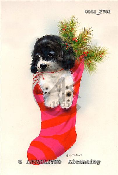 GIORDANO, CHRISTMAS ANIMALS, WEIHNACHTEN TIERE, NAVIDAD ANIMALES, paintings+++++,USGI2781,#XA# christmas stocking dogs,puppies