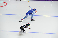 OLYMPIC GAMES: PYEONGCHANG: 18-02-2018, Gangneung Oval, Long Track, 500m Ladies, Erin Jackson (USA), Ida Njatun (NOR), ©photo Martin de Jong
