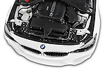 Car Stock 2015 BMW 3 Series M Sport 5 Door Hatchback 2WD Engine high angle detail view