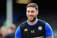Matt Banahan of Bath Rugby is all smiles during the pre-match warm-up. Aviva Premiership match, between Bath Rugby and Sale Sharks on April 23, 2016 at the Recreation Ground in Bath, England. Photo by: Patrick Khachfe / Onside Images