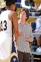 11 November 2011:  FIU Women's Basketball Head Coach Cindy Russo speaks with Diamond Ashmore (13) during the second half as the FIU Golden Panthers defeated the Jacksonville University Dolphins, 63-37, at the U.S. Century Bank Arena in Miami, Florida.