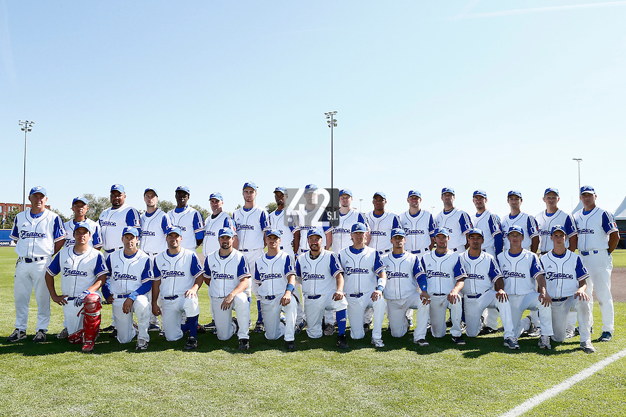 09 September 2012: Team France poses prior to France 9-8 win in over Belgium, at the 2012 European Championship, in Utrecht, Netherlands. First row, from left to right: catcher Boris Marche, Patrice Briones, Vincent Ferreira, Florian Peyrichou, Yann Dal Zotto, Romain Martinez-Scott, Luc Piquet, Maxime Lefevre, Joris Bert, Thomas Meley, Anthony Piquet, Jonathan Mottay.Second row, top, from left to right: Guillaume Coste, Daisuke Ikenaga, Carlos Jiminian, Quentin Pourcel, Frederic Hanvi, Christian Chenard, Simon Vicente, Luis Enrique, Alexandre Martin, Anthony Cros, Andy Paz, Owen Ozanich, Pierrick Le Mestre, Matthieu Brelle-Andrade, Eloi Secleppe, Fabien Proust, Philippe Dedea