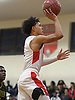 Joshua Serrano #1 of Amityville drives to the net during a Suffolk County League VI varsity boys basketball game against Wyandanch at Amityville High School on Tuesday, Jan. 2, 2018. Amityville won by a score of 95-50.