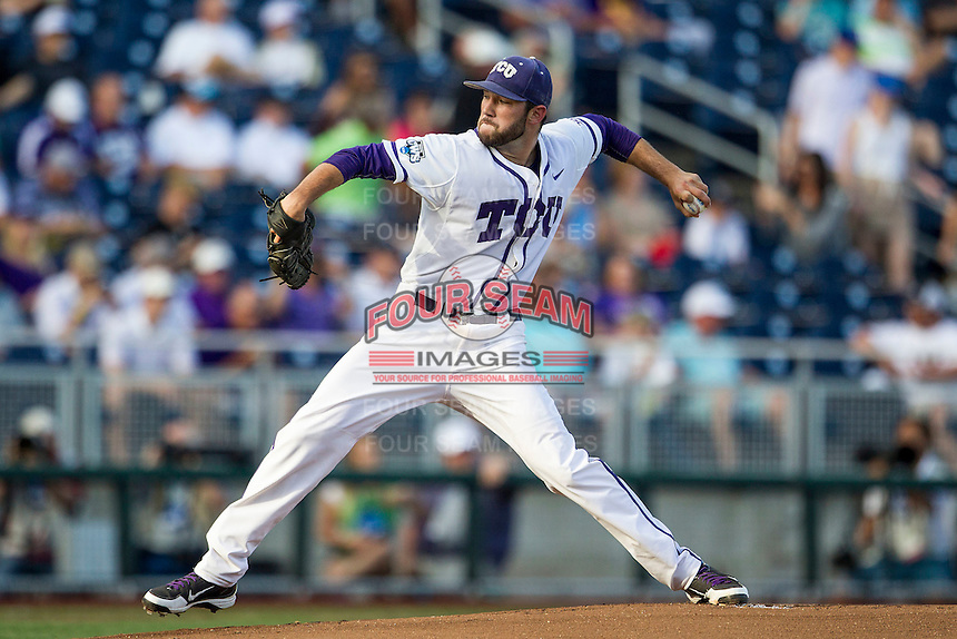 TCU Horned Frogs starting pitcher Alex Young (23) delivers a pitch to the plate during the NCAA College baseball World Series against the Vanderbilt Commodores on June 16, 2015 at TD Ameritrade Park in Omaha, Nebraska. Vanderbilt defeated TCU 1-0. (Andrew Woolley/Four Seam Images)