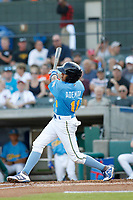 Myrtle Beach Pelicans shortstop Aramis Ademan (11) at bat during a game against the Potomac Nationals at Ticketreturn.com Field at Pelicans Ballpark on July 19, 2018 in Myrtle Beach, South Carolina. Potomac defeated Myrtle Beach 6-3. (Robert Gurganus/Four Seam Images)