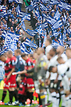 Queens Park Rangers 1 Derby County 0, 24/05/2014. Wembley Stadium, Championship Play Off Final. Queens Park Rangers fans wave flags as the teams line up for the National Anthem ahead of the Championship Play-Off Final between Queens Park Rangers and Derby County from Wembley Stadium. Queens Park Rangers won the game 1-0 to gain promotion to the Premier League.  Photo by Simon Gill.