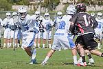 Corona Del Mar, CA 04/06/10 - David Ehlers (Danville/Monte Vista #10), Parker Ewles (Corona Del Mar #18) and Connor Canale (Corona Del Mar #17) in action during the Corona Del Mar-Danville/Monte Vista lacrosse game.