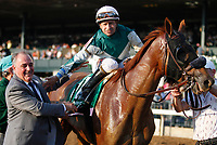 "October 07, 2018 : #11 Blue Prize (ARG) and jockey Joe Bravo win the 63rd running of The Juddmonte Spinster (Grade 1) $500,000 ""Win and You're In Breeders' Cup Distaff Division"" for trainer Ignacio Correas, IV and owner Merriebelle Stable at Keeneland Race Course on October 07, 2018 in Lexington, KY.  Candice Chavez/ESW/CSM"