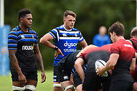 Zach Mercer of Bath Rugby looks on at a scrum against the visiting Dragons team. Bath Rugby pre-season training on August 8, 2018 at Farleigh House in Bath, England. Photo by: Patrick Khachfe / Onside Images