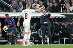 Real Madrid CF's Toni Kroos and coach Santiago Solari during the King's Cup semifinals match. February 27,2019. (ALTERPHOTOS/Alconada)
