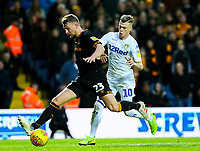 Hull City's Stephen Kingsley shields the ball from Leeds United's Ezgjan Alioski<br /> <br /> Photographer Alex Dodd/CameraSport<br /> <br /> The EFL Sky Bet Championship - Leeds United v Hull City - Saturday 29th December 2018 - Elland Road - Leeds<br /> <br /> World Copyright © 2018 CameraSport. All rights reserved. 43 Linden Ave. Countesthorpe. Leicester. England. LE8 5PG - Tel: +44 (0) 116 277 4147 - admin@camerasport.com - www.camerasport.com