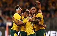 Kurtley Beale of the Wallabies celebrates with team mates after scoring a try during the Rugby Championship match between Australia and New Zealand at Optus Stadium in Perth, Australia on August 10, 2019 . Photo: Gary Day / Frozen In Motion