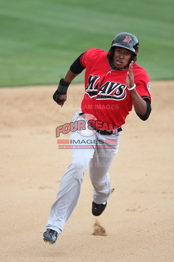 Mario Martinez #32 of the High Desert Mavericks runs the bases against the Rancho Cucamonga Quakes at The Epicenter in Rancho Cucamonga,California on May 8, 2011. Photo by Larry Goren/Four Seam Images