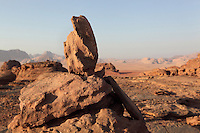 Sandstone, Wadi Rum Protected Area (WRPA), Wadi Rum National Park, also known as The Valley of the Moon, 74,000-hectare, UNESCO World Heritage Site, desert landscape, southern Jordan, Middle East. Picture by Manuel Cohen