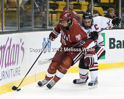 Alex Killorn (Harvard - 19), Mike McLaughlin (Northeastern - 18) - The Harvard University Crimson defeated the Northeastern University Huskies 3-2 in the 2012 Beanpot consolation game on Monday, February 13, 2012, at TD Garden in Boston, Massachusetts.