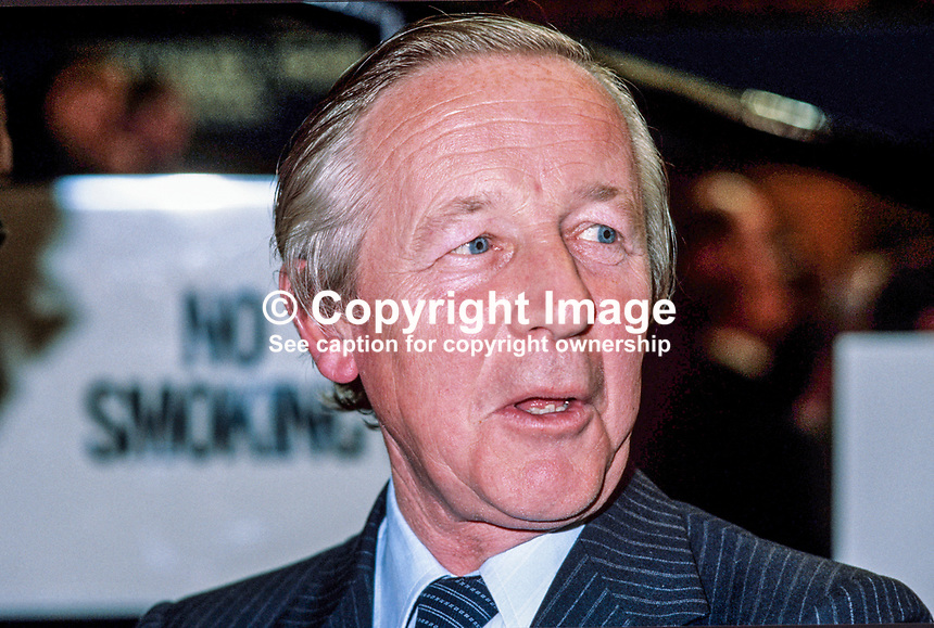 Marcus Fox, MP, Conservative Party, Under Secretary of State, Department of the Environment, UK, 198010000319b.<br />