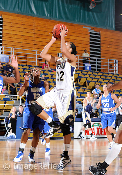 Florida International University forward Elisa Carey (12) plays against Middle Tennessee State University.  FIU won the game 62-59 on January 29, 2011 at Miami, Florida. .